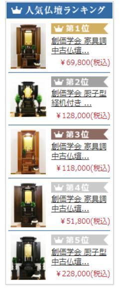 創価仏壇ネット販売・桜梅桃李.comの人気ランキングはどうして決まるのですか?