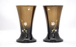 創価学会 :華型コハクボカシ ユリ彫金 花立 4.5寸 2個セット高岡銅器製/ご注文頂きました。