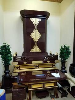 個人会館用、会場、拠点用の創価学会中古仏壇:あずき色カシュ―漆、本金箔、